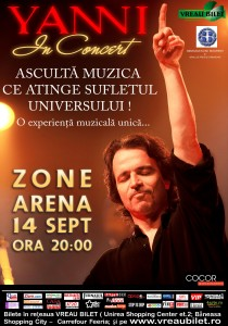 Yanni- 14 septembrie la Zone Arena