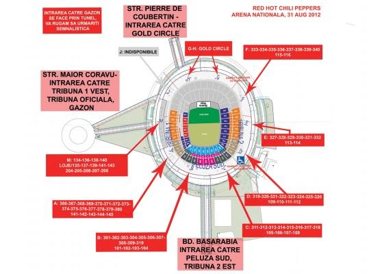 Hartă acces Concertul RHCP, Arena Națională București