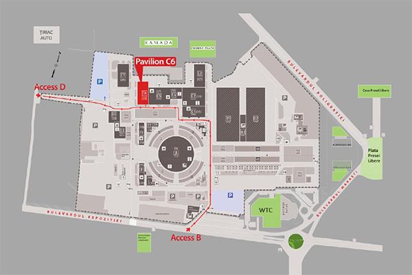 Harta de acces Romexpo Pavilion C6