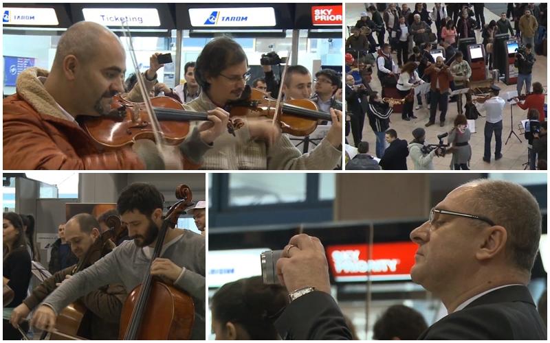 Flasmob Orchestra Simfonică București la Aeroportul Internațional Henri Coandă