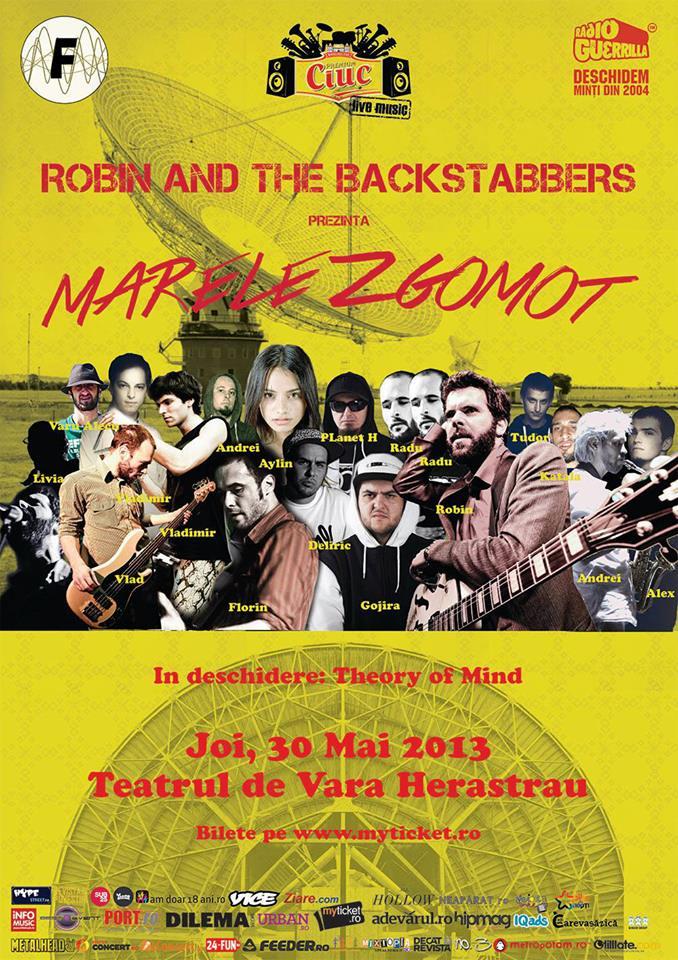 Poster Robin and the Backstabbers lansează single-ul Marele Zgomot la Teatrul de Vară Herăstrău pe 30 mai 2013
