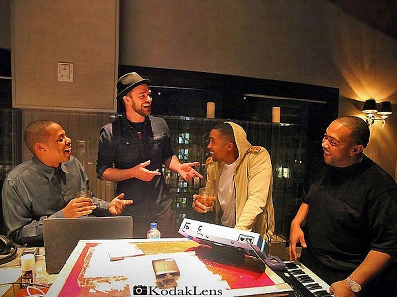 Justin Timberlake, Jay-Z, Nas și Timbaland în studio, iunie 2013