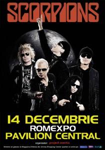 Afisul concertului Scorpions de pe 14 decembrie 2013 de la Bucuresti