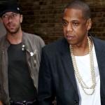 Chris Martin și Jay-Z înainte de concertul de pe Arena OD, Londra, octombrie 2013