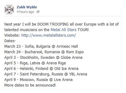 Anunțul făcut de Zakk Wylde în legătură cu participarea la Metal All Stars din București.