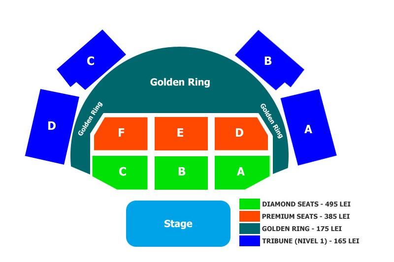Schema locurilor în sală pentru concertul Peter Gabriel de la Romexpo