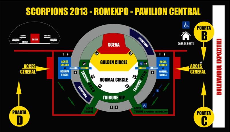 Harta acces concert Scorpions 2013, Romexpo Bucuresti.