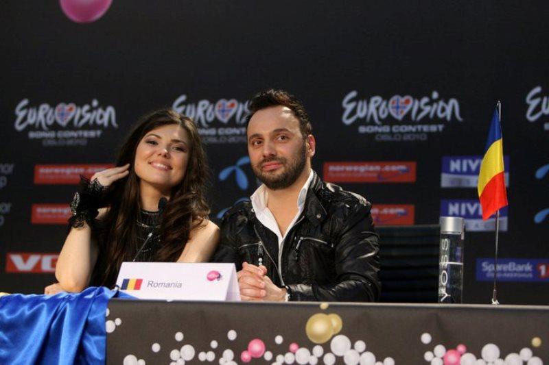 Paula Seling și Ovi la conferința de presă Eurovision 2010, Oslo