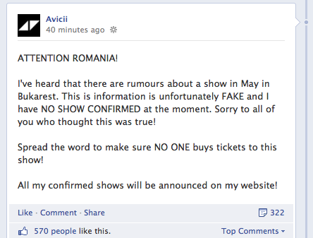 Print Screen - Avicii Facebook oficial