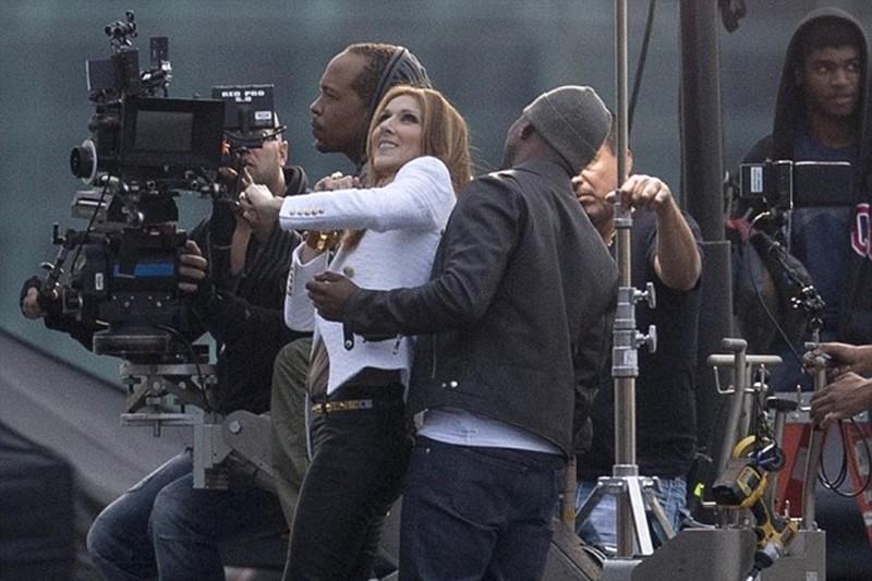 Celine Dion și Ne-Yo la filmarea clipului