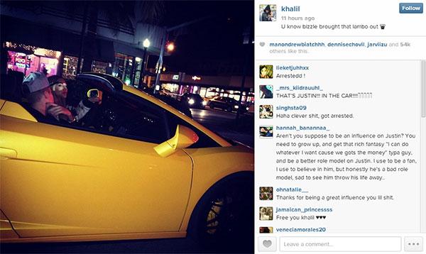 Rapperul Khalil a postat pe instagram fotografia masinii Laborghini închiriate de Justin Bieber cu o zi înainte să fie oprit de poliție.