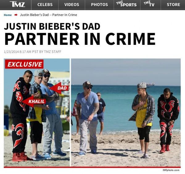 Screen shot - TMZ.com dezvăluie că Justin Bieber a petrecut alături de tatăl său, Jeremy, înainte de a fi arestat