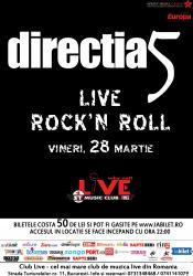 afis directia 5 concert Club Live bucuresti 28 martie 2014