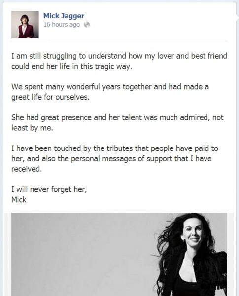 Mesajul trasmis de Mick Jagger după moartea iubitei