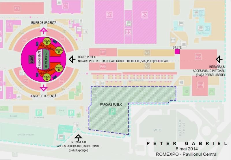 Harta acces concert Peter Gabriel - Romexpo, Bucuresti.