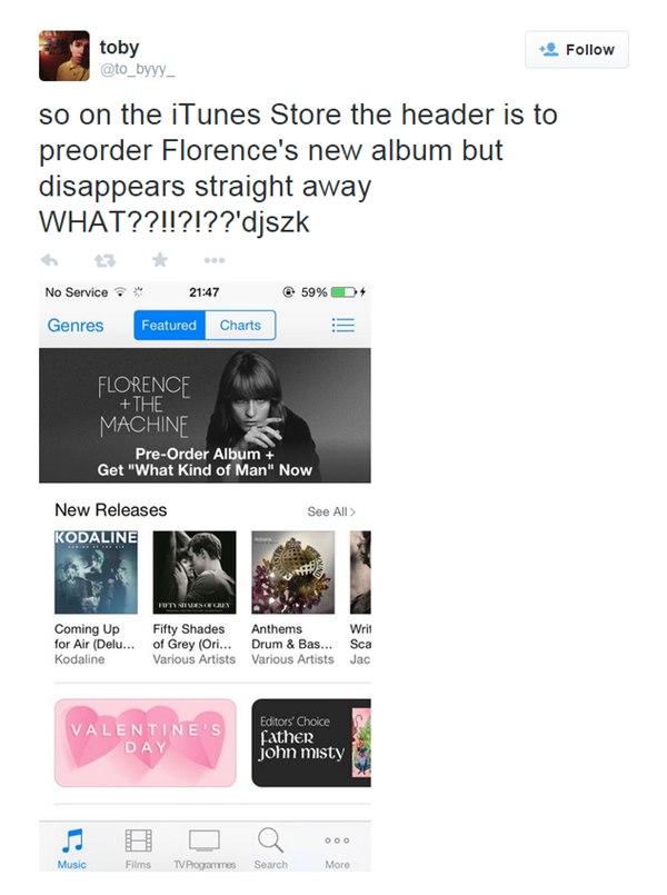 Promo cu noul album Florence and the Machine apărut prematur pe iTunes