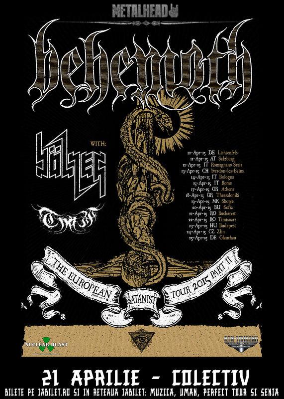 Afiș concert Behemoth în club Colectiv 12 aprilie 2015