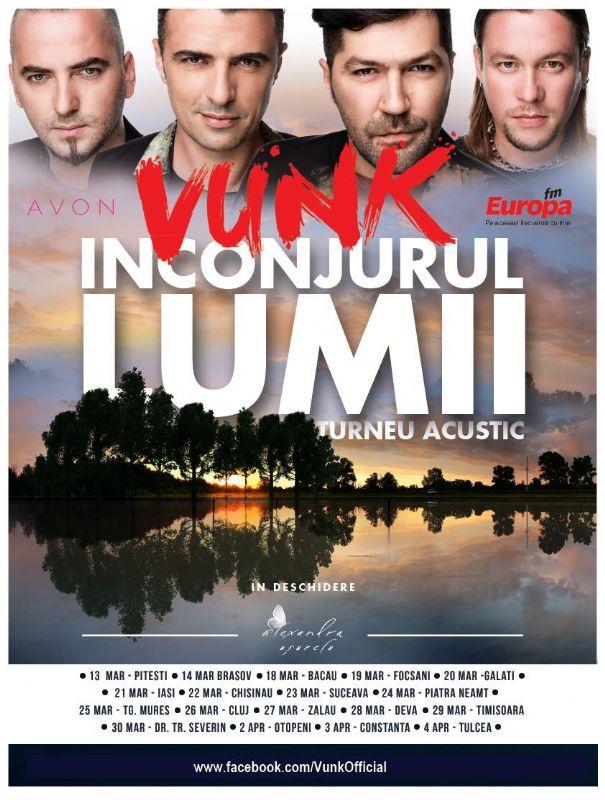 Afiș turneu acustic VUNK - Înconjurul lumii 2015