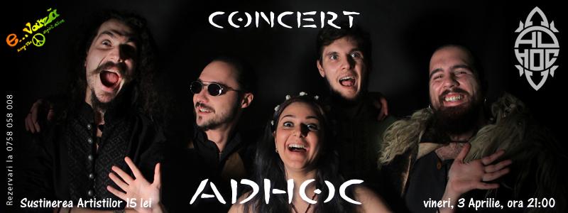 Afiș concert Ad Hoc la EVarză pe 3 aprilie 2015