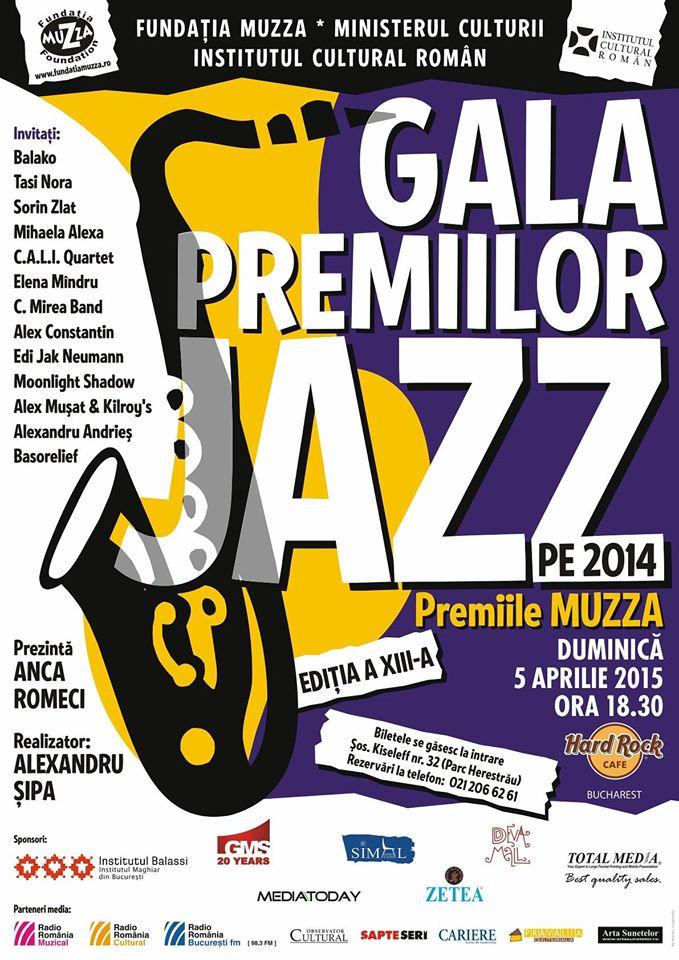 Afiș Gala premiilor de Jazz 2015 din Hard Rock Cafe