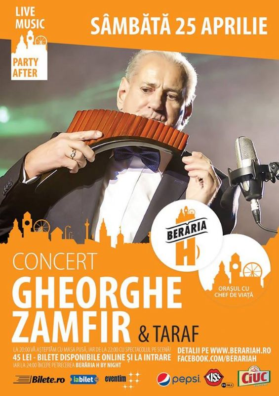 Afiș concert Gheorghe Zamfir la Berăria H pe 25 aprilie 2015
