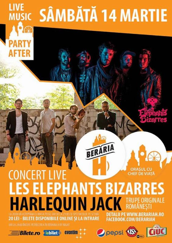 Concert Les Elephants Bizarres și Harlequin Jack la Berăria H
