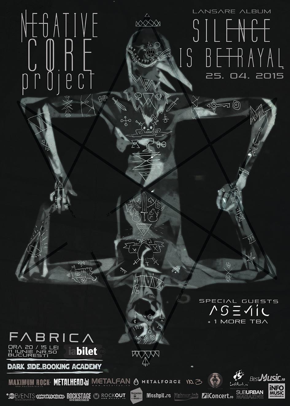 Afiș concert Negative Core Project în Fabrica 25 aprilie 2015