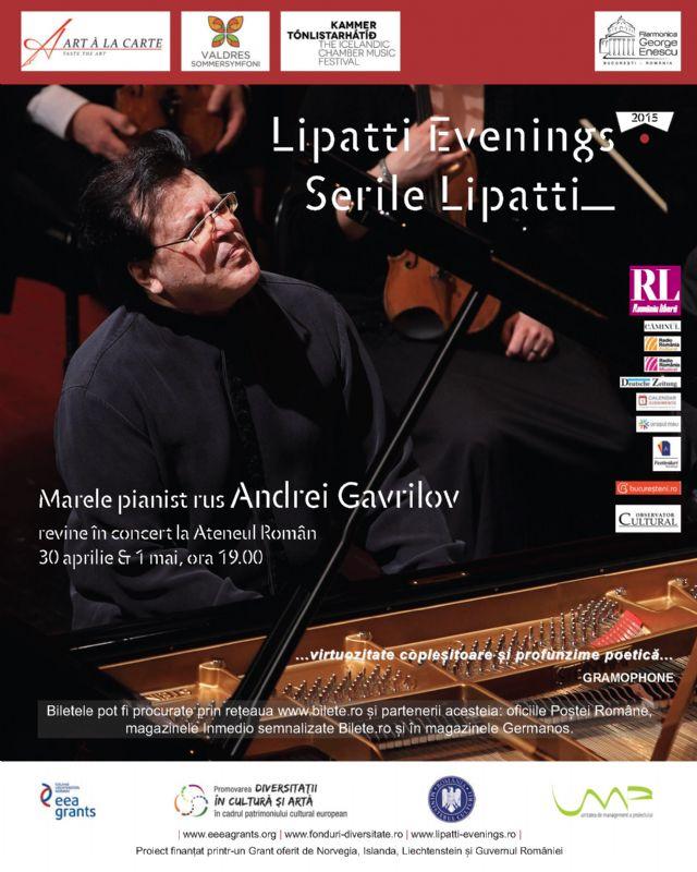 Afiş concert Andrei Gavrilov la Ateneul Român 30 aprilie - 1 mai 2015