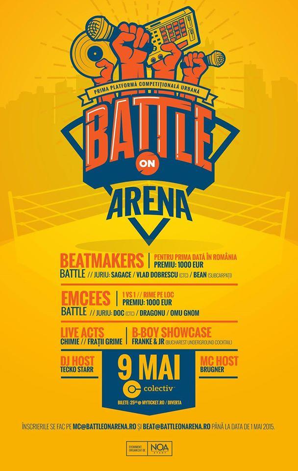 Afiş concert Battle on Arena în Colectiv pe 9 mai 2015