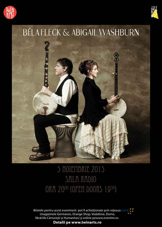 Afiş Concert Bela Fleck si Abigail Washburn la Sala Radio pe 5 noiembrie
