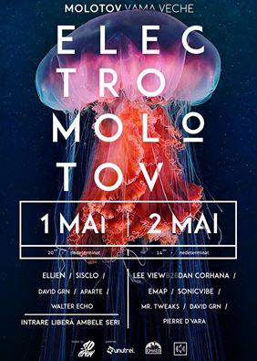 Afiş concerte ElectroMolotov la Molotov în Vama Veche 1-2 mai 2015