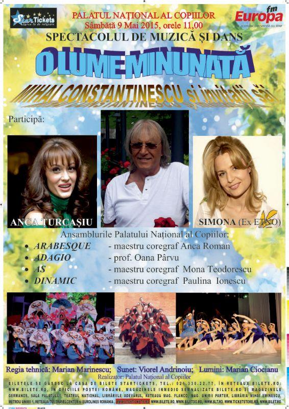 Afiş concert O lume minunată la Palatul Naţional al copiilor pe 9 mai 2015