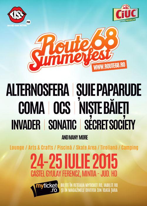Afiș festival Route68 Summerfest 2015 la Gurasada Park