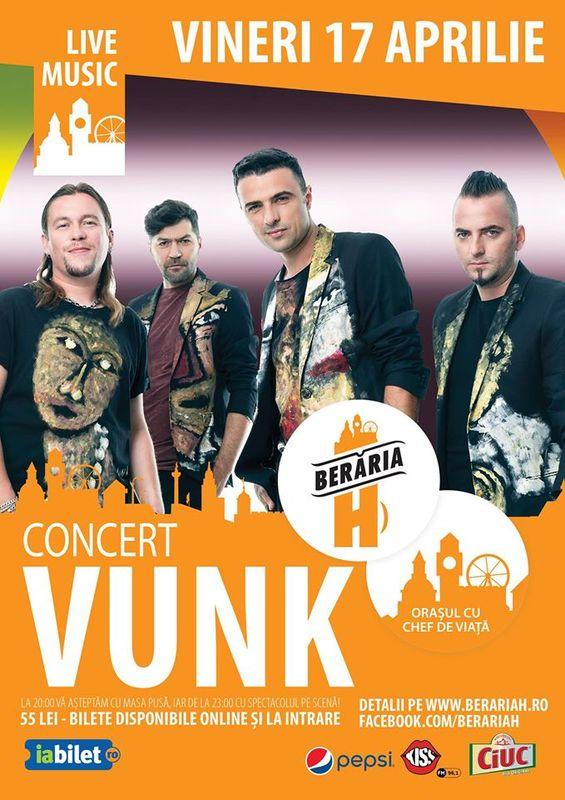 Afiş concert Vunk la Berăria H pe 17 aprilie 2015