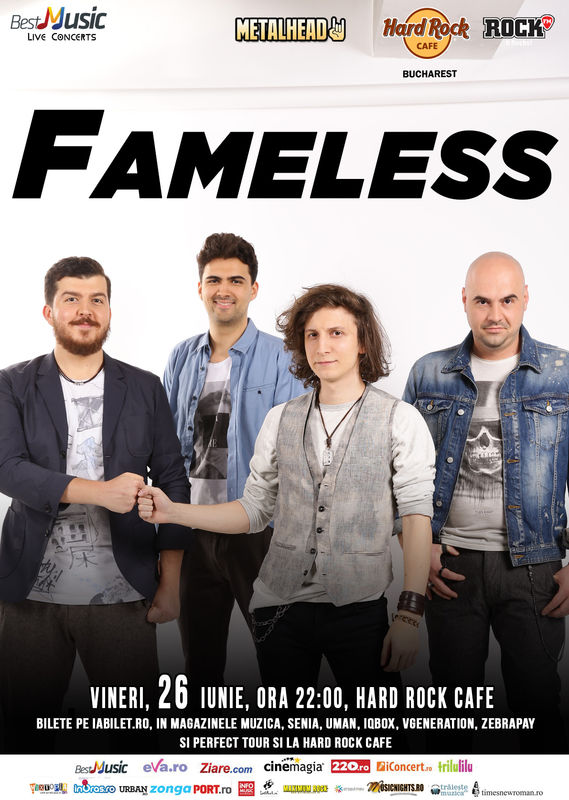 Afiş FAMELESS concert la Hard Rock Cafe 26 iunie 2015