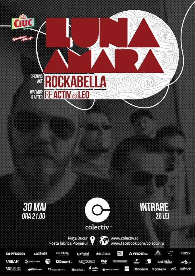 Afiș Luna Amara concert Colectiv 30 mai 2015