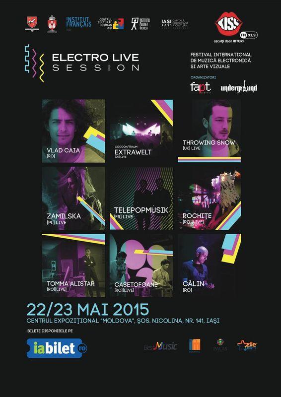 Afiș festival Electrolive Session la Iași pe 22-23 mai 2015