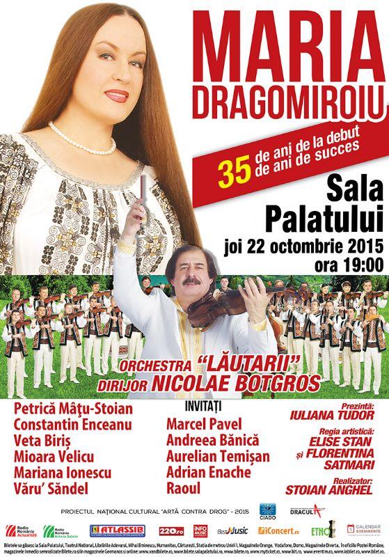 Afiș concert Maria Dragomiroiu la Sala Palatului pe 22 octombrie 2015
