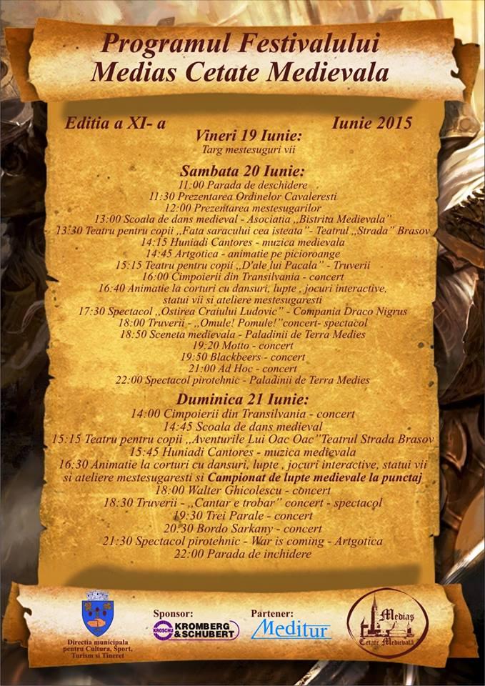 Programul Festivalului Mediaș Cetate Medievală 2015