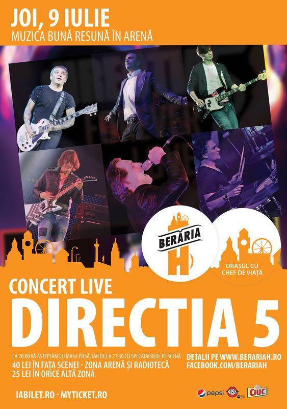 Afiş Direcţia 5 concert la Berăria H