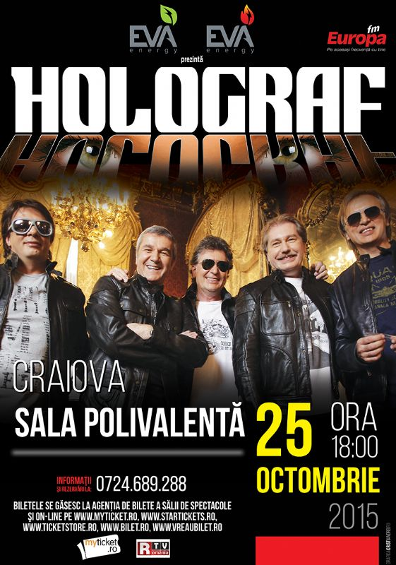 Afiș Holograf Concert Sala Polivalenta Craiova 2015
