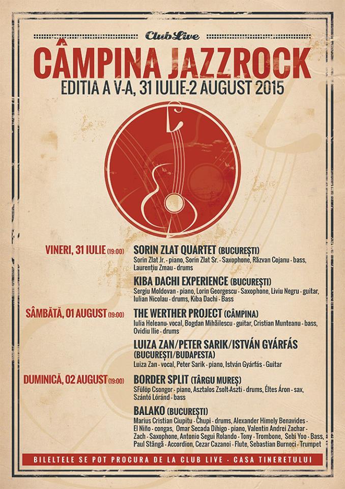 Afiș JazzRock Festival 2015 la Câmpina