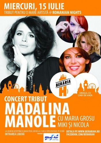 Afiş concert tribut Mădălina Manole la Berăria H pe 15 iulie 2015