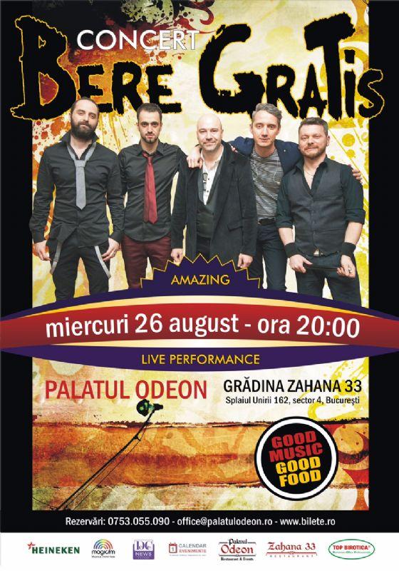 Afiș Bere Gratis Concert Grădina Palatului Odeon 2015
