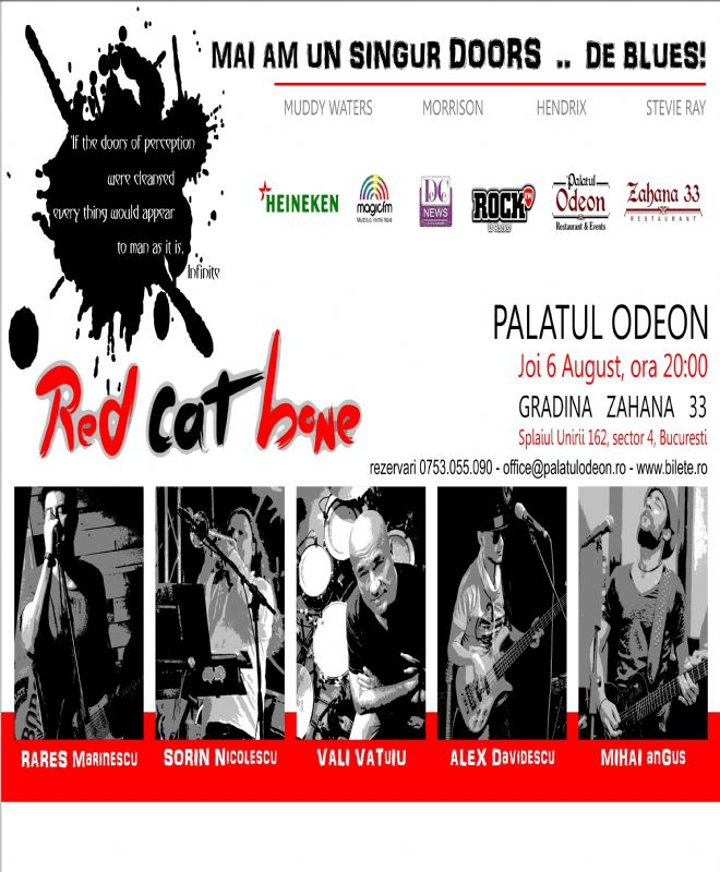 Afiș Red Cat Bone concert Grădina Palatului Odeon 6 august 2015