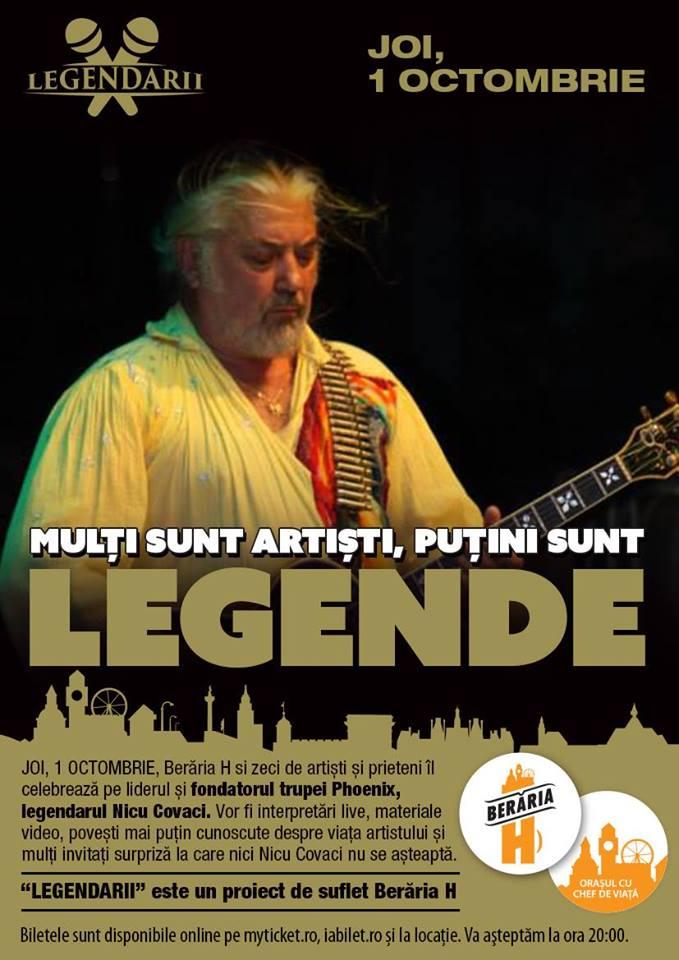 Afiș Legendarii Nicu Covaci concert Berăria H 2015