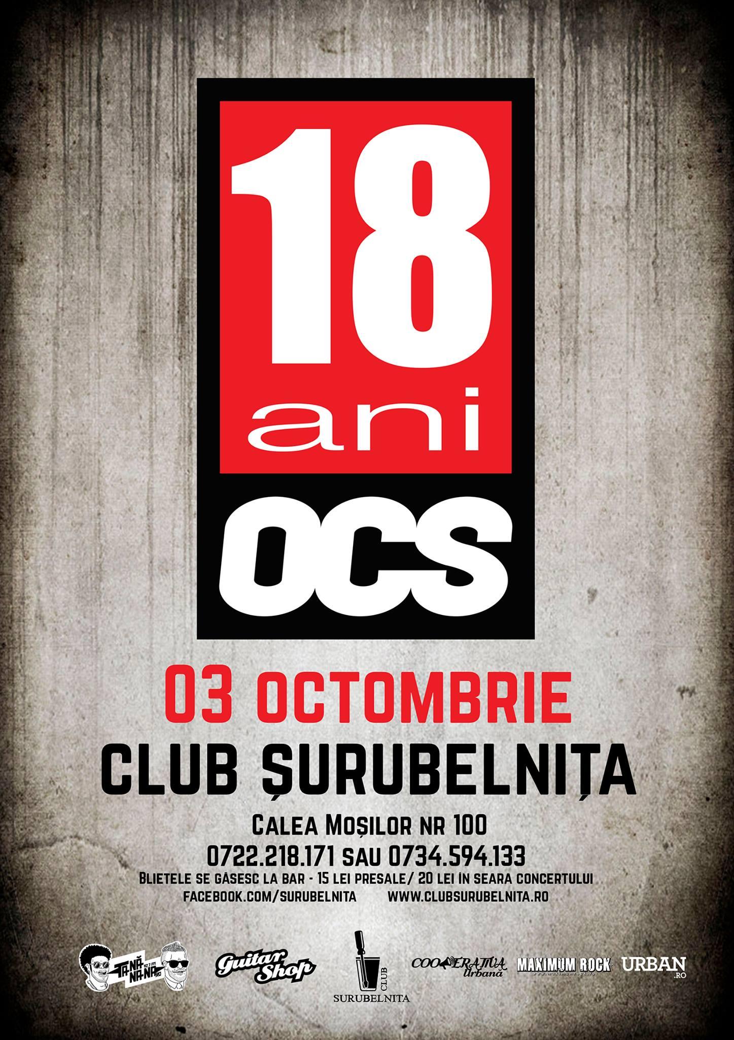 Afiș OCS concert Club Șurubelnița 2015