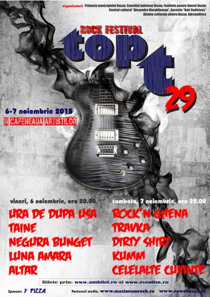 Afiş Festival de Muzică Rock Top T 2015 Buzău