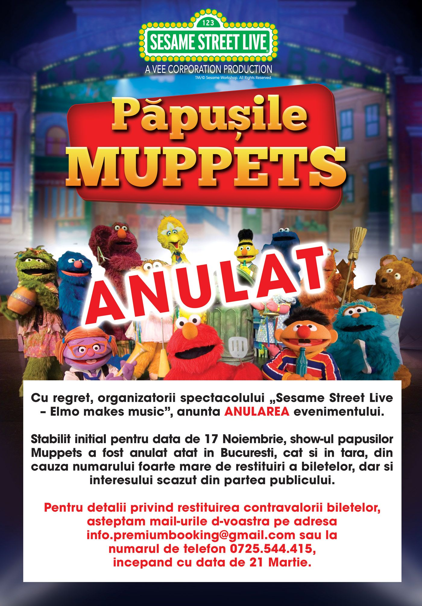 ANULAT - Păpușile Muppets - Sesame Street Live - Elmo Makes Music la Sala Sporturilor / Arena