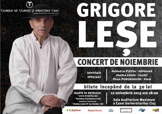 Afiș Concert de Noiembrie la Cluj Napoca 2015